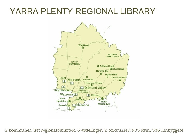 YARRA PLENTY REGIONAL LIBRARY 3 kommuner. Ett regionalbibliotek. 8 avdelinger, 2 bokbusser. 983 kvm,