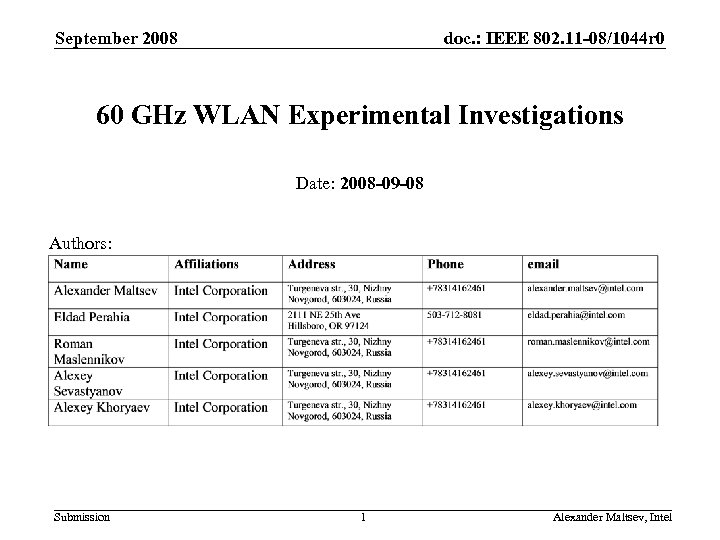 September 2008 doc. : IEEE 802. 11 -08/1044 r 0 60 GHz WLAN Experimental