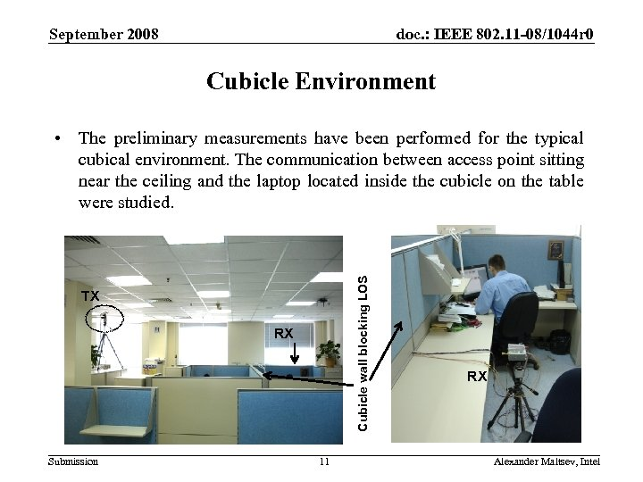 September 2008 doc. : IEEE 802. 11 -08/1044 r 0 Cubicle Environment Cubicle wall