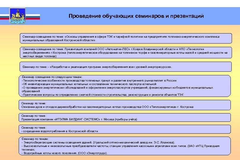 Проведение обучающих семинаров и презентаций Семинар-совещание по теме: «Основы управления в сфере ТЭК