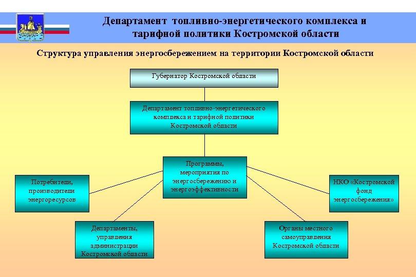 Департамент топливно-энергетического комплекса и тарифной политики Костромской области Структура управления энергосбережением на территории