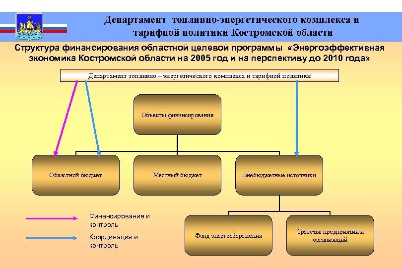 Департамент топливно-энергетического комплекса и тарифной политики Костромской области Структура финансирования областной целевой программы