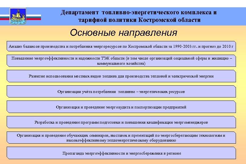 Департамент топливно-энергетического комплекса и тарифной политики Костромской области Основные направления Анализ балансов производства