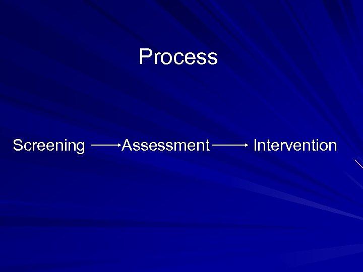 Process Screening Assessment Intervention