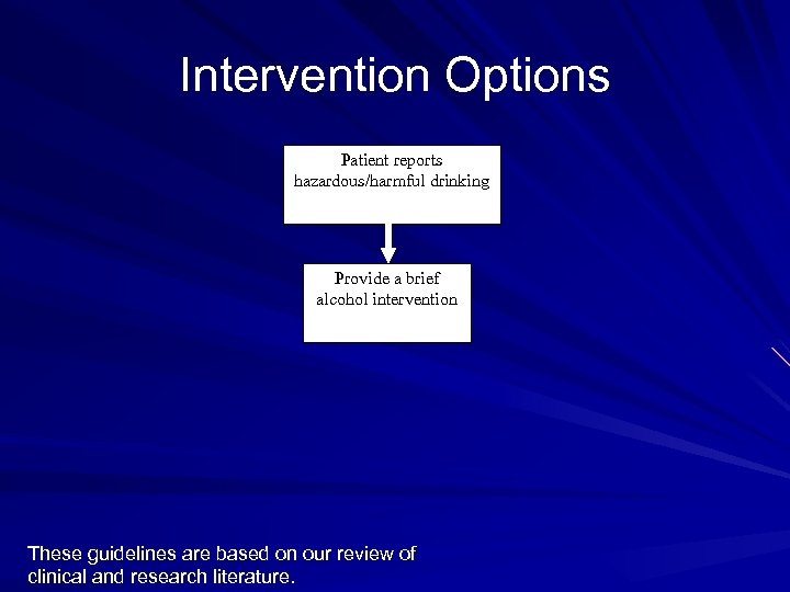 Intervention Options Patient reports hazardous/harmful drinking Provide a brief alcohol intervention These guidelines are