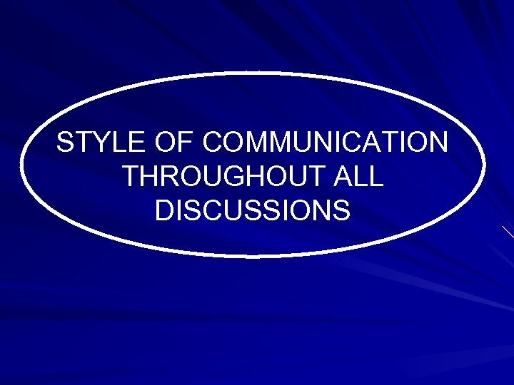 STYLE OF COMMUNICATION THROUGHOUT ALL DISCUSSIONS