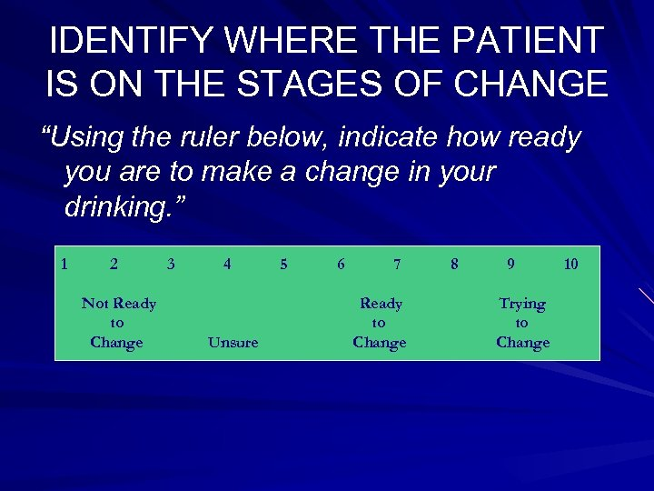 """IDENTIFY WHERE THE PATIENT IS ON THE STAGES OF CHANGE """"Using the ruler below,"""