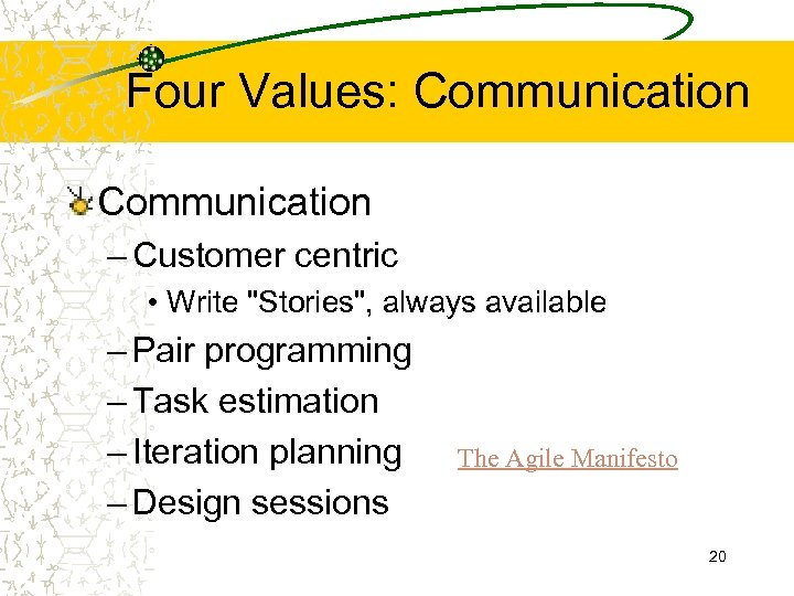 Four Values: Communication – Customer centric • Write