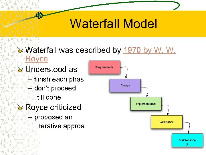 Waterfall Model Waterfall was described by 1970 by W. W. Royce Understood as –