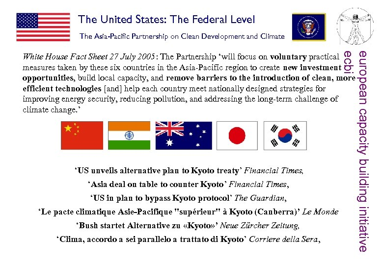 The United States: The Federal Level The Asia-Pacific Partnership on Clean Development and Climate