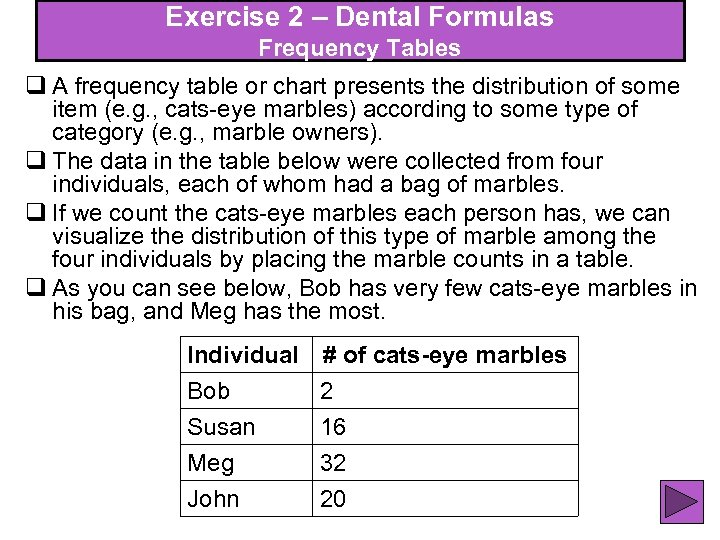 Exercise 2 – Dental Formulas Frequency Tables q A frequency table or chart presents