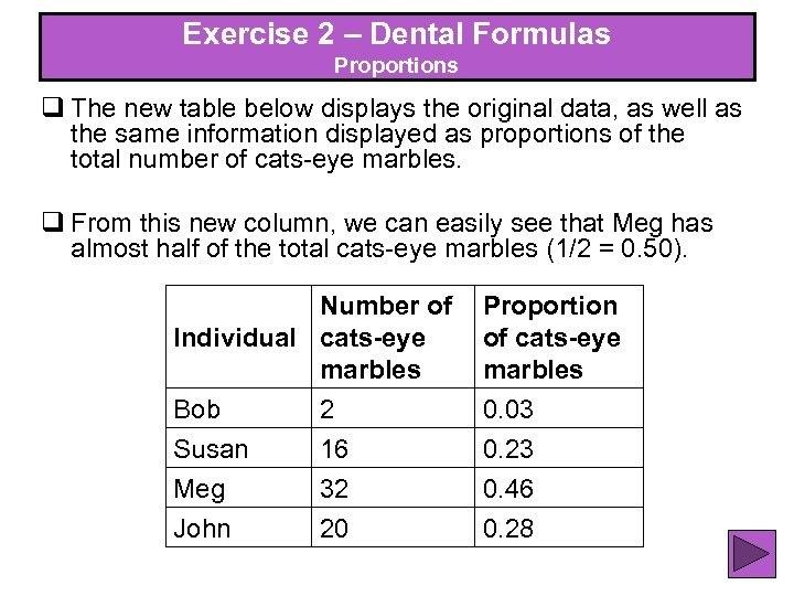 Exercise 2 – Dental Formulas Exercise 2 – Proportions q The new table below