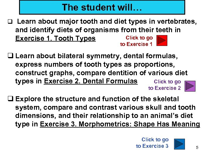 The student will… q Learn about major tooth and diet types in vertebrates, and