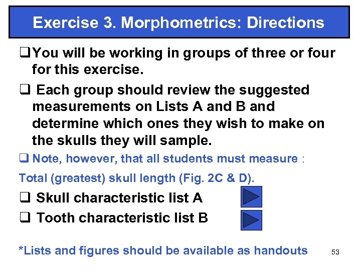 Exercise 3. Morphometrics: Directions q You will be working in groups of three or