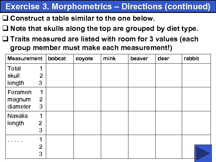 Exercise 3. Morphometrics – Directions (continued) q Construct a table similar to the one
