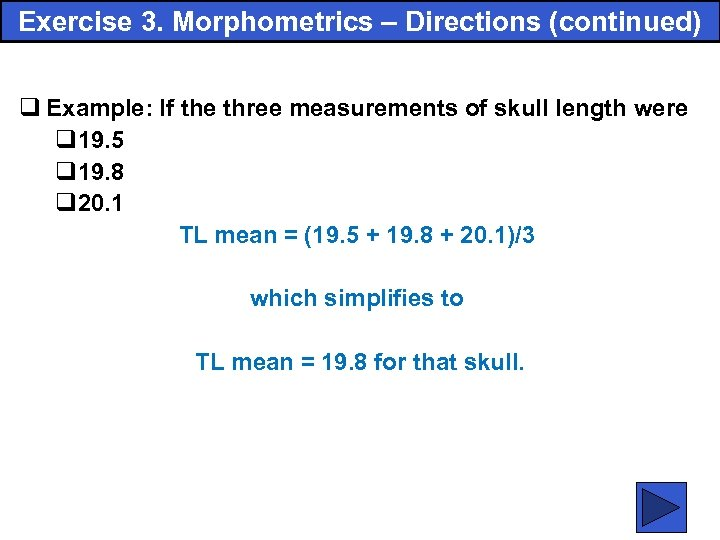 Exercise 3. Morphometrics – Directions (continued) q Example: If the three measurements of skull