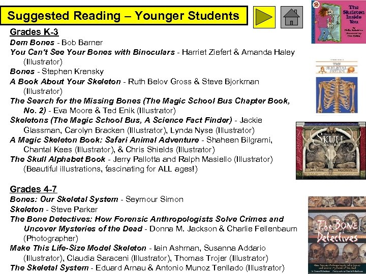 Suggested Reading – Younger Students Grades K-3 Dem Bones - Bob Barner You Can't