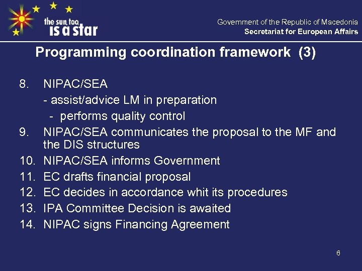 Government of the Republic of Macedonia Secretariat for European Affairs Programming coordination framework (3)