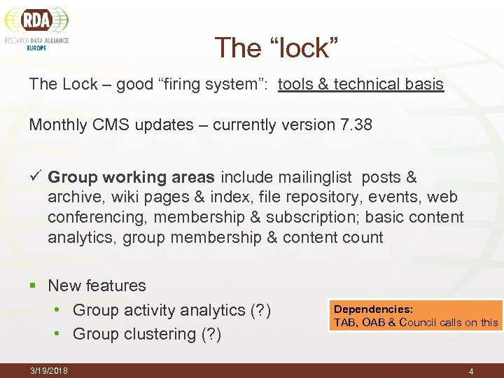"The ""lock"" The Lock – good ""firing system"": tools & technical basis Monthly CMS"