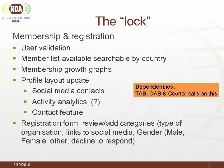 "The ""lock"" Membership & registration § § User validation Member list available searchable by"