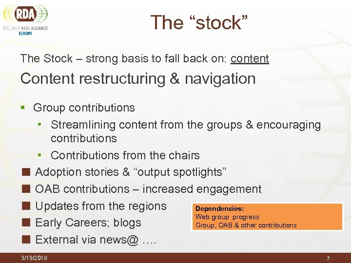"The ""stock"" The Stock – strong basis to fall back on: content Content restructuring"