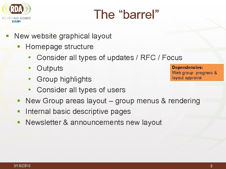 "The ""barrel"" § New website graphical layout § Homepage structure • Consider all types"