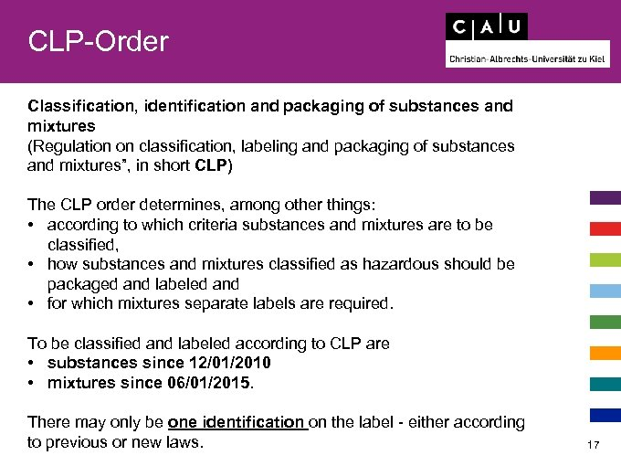 CLP-Order Classification, identification and packaging of substances and mixtures (Regulation on classification, labeling and
