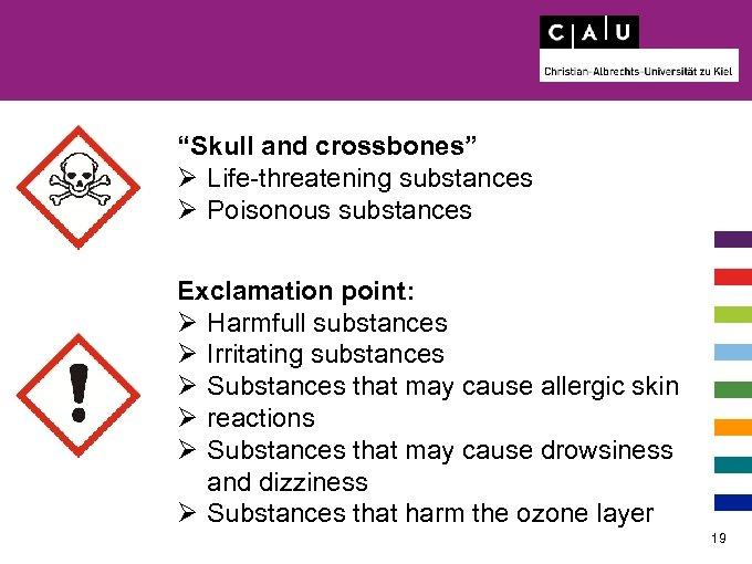 """Skull and crossbones"" Ø Life-threatening substances Ø Poisonous substances Exclamation point: Ø Harmfull substances"