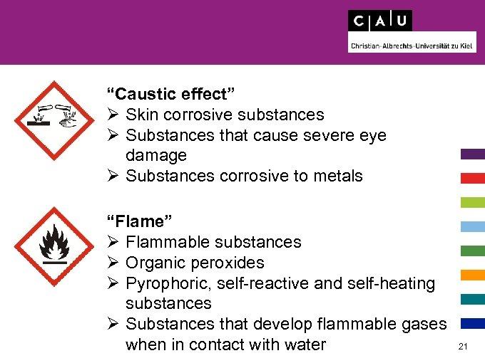 """Caustic effect"" Ø Skin corrosive substances Ø Substances that cause severe eye damage Ø"