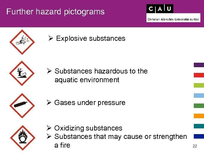 Further hazard pictograms Ø Explosive substances Ø Substances hazardous to the aquatic environment Ø