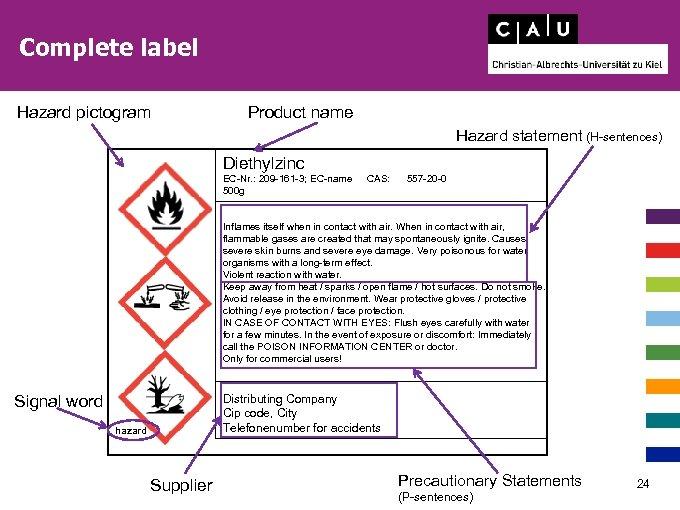 Complete label Hazard pictogram Product name Hazard statement (H-sentences) Diethylzinc EC-Nr. : 209 -161
