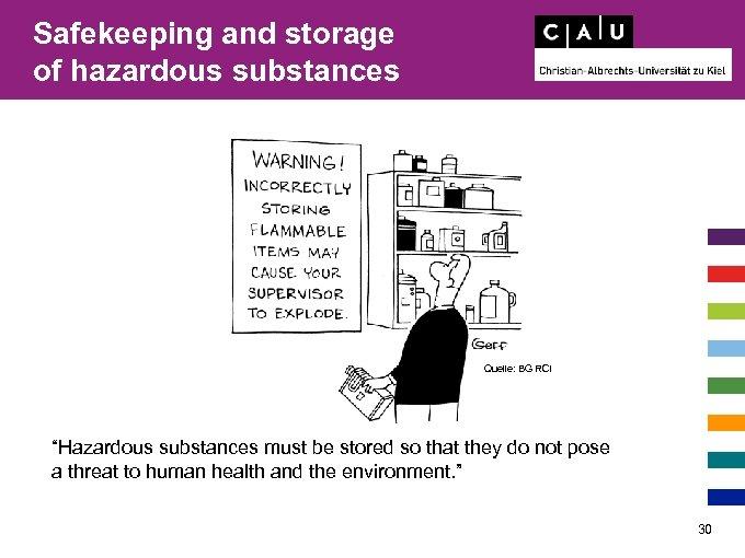 "Safekeeping and storage of hazardous substances Quelle: BG RCI ""Hazardous substances must be stored"
