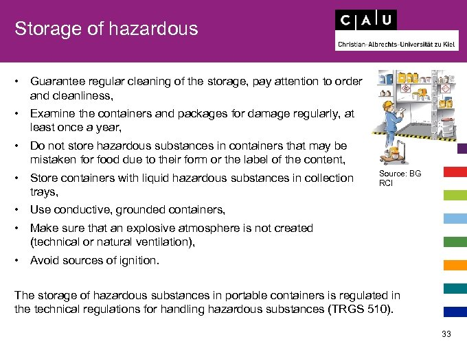 Storage of hazardous • Guarantee regular cleaning of the storage, pay attention to order