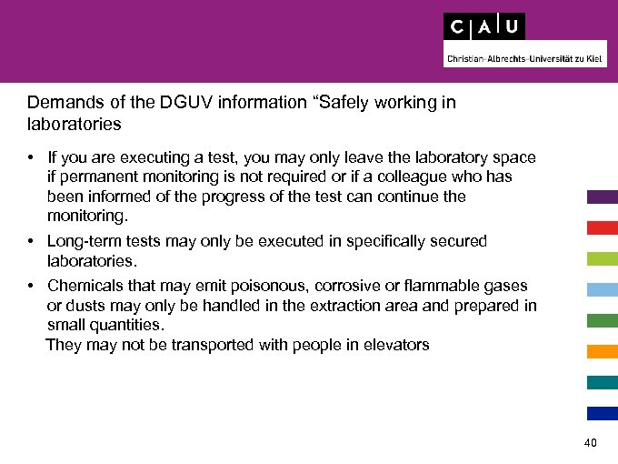 """Demands of the DGUV information """"Safely working in laboratories • If you are executing"""