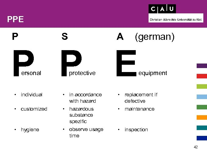 PPE P S A (german) P P E ersonal protective equipment • individual •