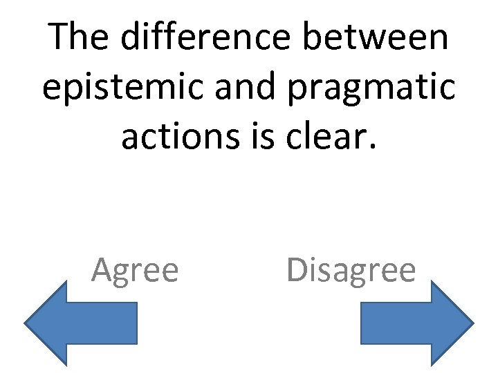 The difference between epistemic and pragmatic actions is clear. Agree Disagree