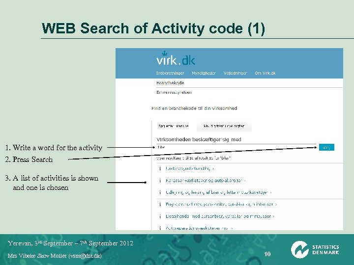 WEB Search of Activity code (1) 1. Write a word for the activity 2.