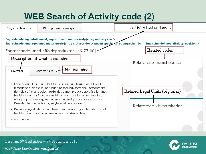 WEB Search of Activity code (2) Activity text and code Related codes Description of