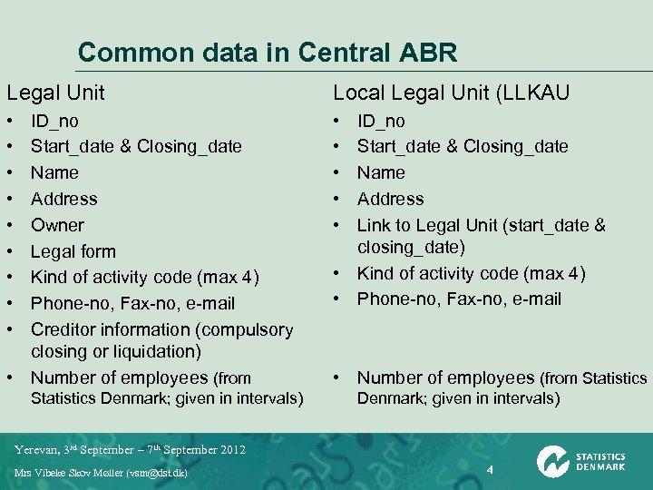 Common data in Central ABR Legal Unit Local Legal Unit (LLKAU • • •