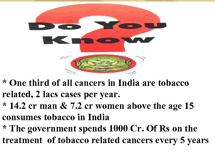 * One third of all cancers in India are tobacco related, 2 lacs cases
