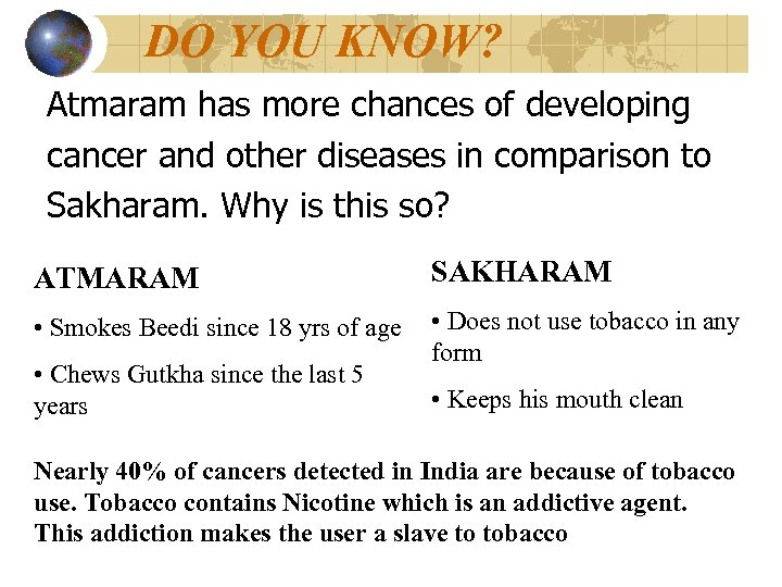 DO YOU KNOW? Atmaram has more chances of developing cancer and other diseases in