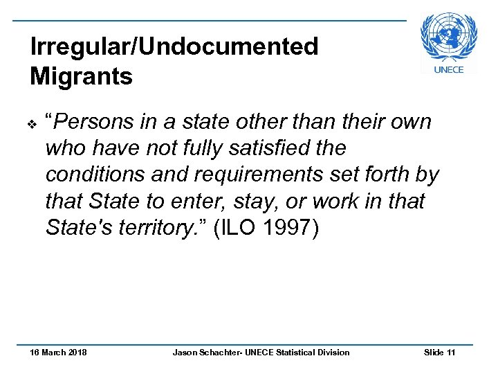 "Irregular/Undocumented Migrants v ""Persons in a state other than their own who have not"