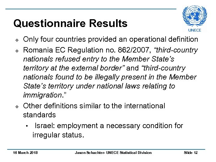Questionnaire Results v v v Only four countries provided an operational definition Romania EC