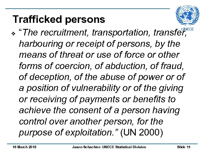 "Trafficked persons v ""The recruitment, transportation, transfer, harbouring or receipt of persons, by the"