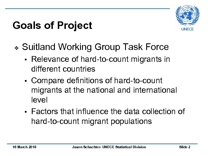 Goals of Project v Suitland Working Group Task Force Relevance of hard-to-count migrants in