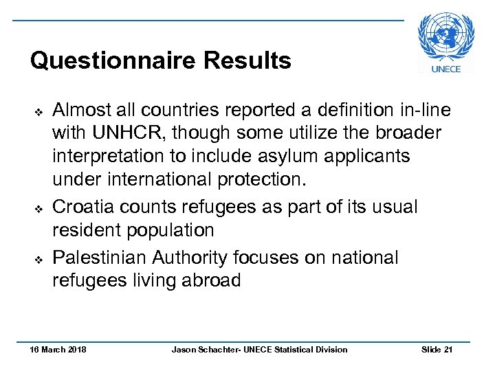 Questionnaire Results v v v Almost all countries reported a definition in-line with UNHCR,