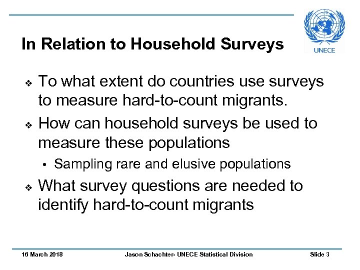 In Relation to Household Surveys v v To what extent do countries use surveys