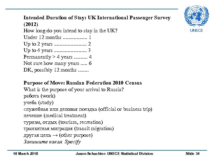 Intended Duration of Stay: UK International Passenger Survey (2012) How long do you intend