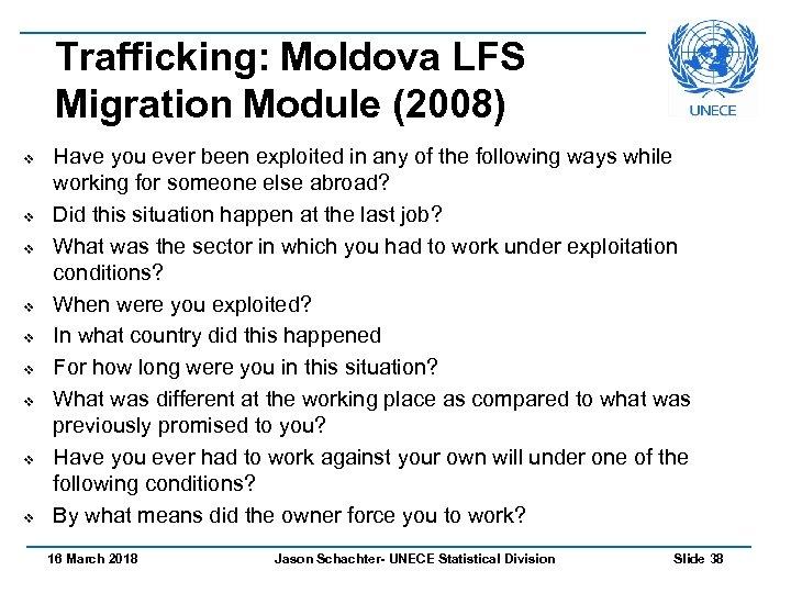 Trafficking: Moldova LFS Migration Module (2008) v v v v v Have you ever