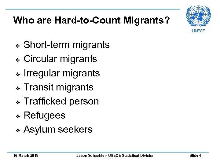 Who are Hard-to-Count Migrants? v v v v Short-term migrants Circular migrants Irregular migrants